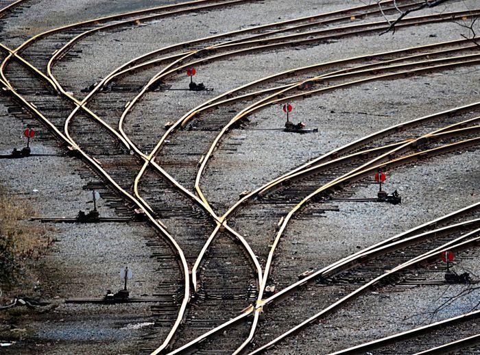 Railroad tracks in Richmond, Virginia Curvy Day Pjpink Railroad Track Railroad Tracks Rails Railyard Tracks Trainyard Art Is Everywhere