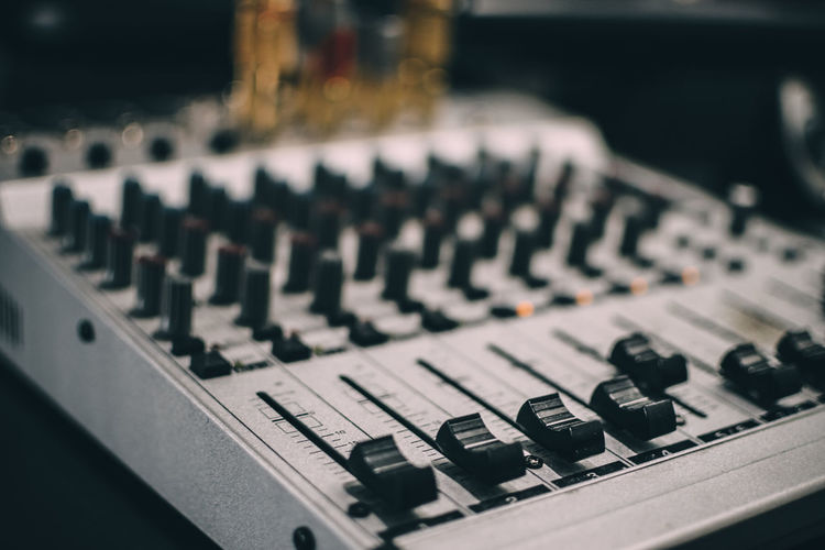 Arts Culture And Entertainment Bokeh Close-up Console Differential Focus Indoors  Mixing Music No People Recording Studio Selective Focus Sound Mixer Sound Recording Equipment Technology