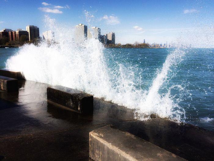 Chicago Lake Michigan In Motion Taking Photos EyeEm Urbanphotography IPhone Iphone6s Iphonephotography IPhoneography Iphonography Taking Photos Big Splash Blue Wave