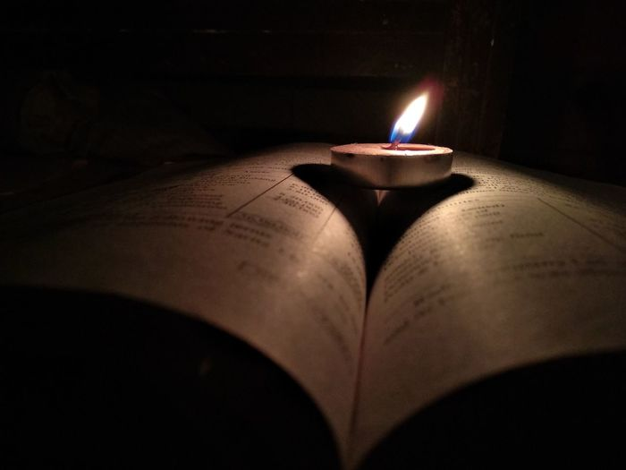 candle on book