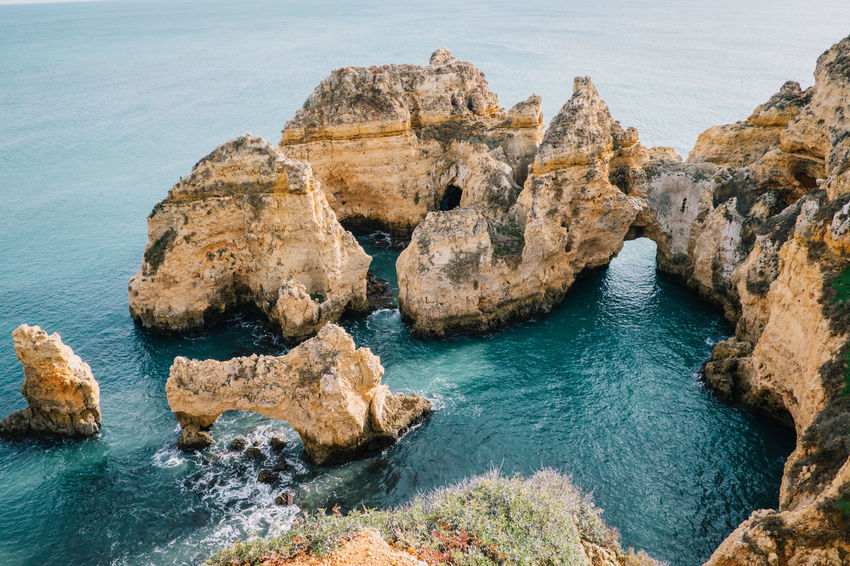 Lagos Algarve Atlantic Atlantic Ocean Lagos Ponta Da Piedade Portugal Praia De Dona Ana Travel Beach Beauty In Nature Cliff Day High Angle View Horizon Over Water Nature No People Ocean Outdoors Rock - Object Rock Formation Scenics Sea Seaside Sky Tarvel Destination Tranquility Water