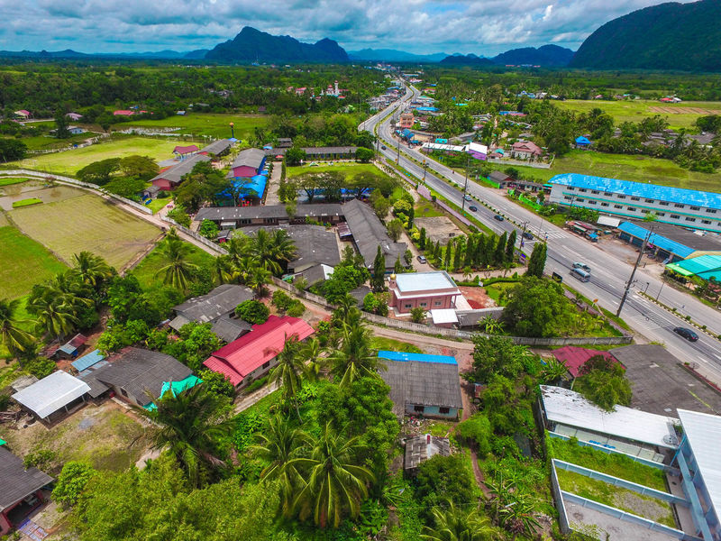 DJI Phantom 3 Advanced Drone  Satun Province Architecture Building Exterior City Cityscape Cloud - Sky Day High Angle View Mountain Nature No People Outdoors Road Satun Thailand Scenics School Sky Skyviewers Tree
