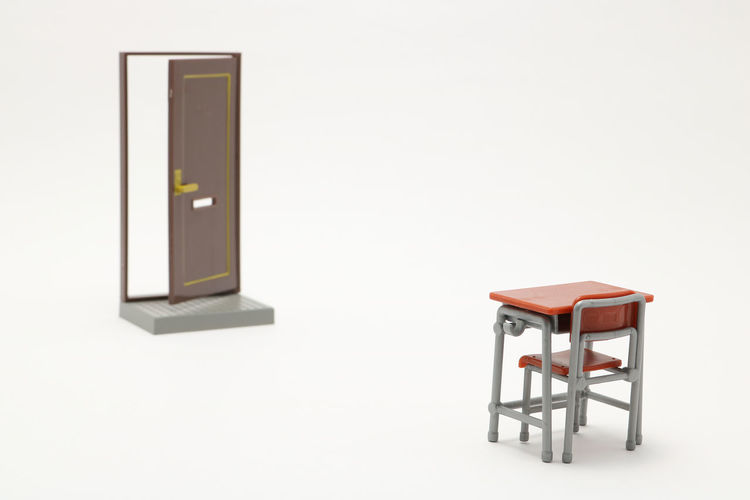 Chair Desk Entrance Entrance Gate Examination Lesson Pass Student Close Door Doorway Education Eligibility Entrance Door Entrance Examination Exam Exit Miniature No People Open School Study Success Toy White Background