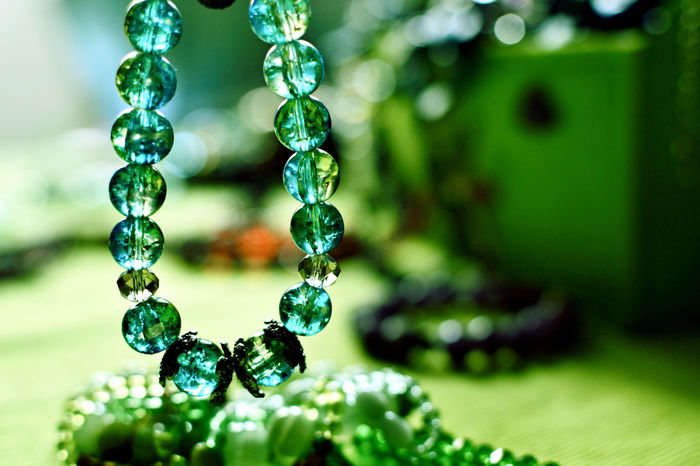 Accessories Bijoux Bracelets Close-up Colored Crystal Colored Glass Day Green Color Group Of Objects No People Trinkets Women's Accessories