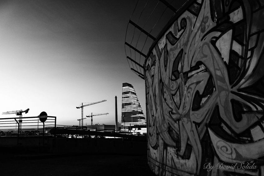 It was a beautiful morning📸 No People Outdoors Graffiti Art Sky Canonphotography Black And White