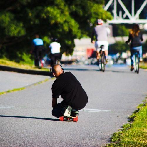 Skateboarding in the summer sun. Skaterboy Skateboarding Englishbay Beachavenue Summer