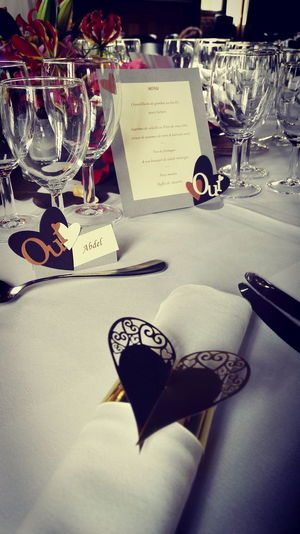 Table Indoors  Communication Business Food And Drink Drink Wireless Technology Night No People Drinking Glass Wineglass Close-up Weddingtable Wedding Wedding Photos Heart Indoors