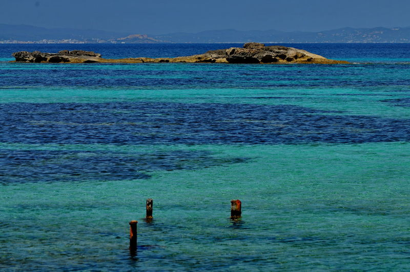 Green Water Blue Sky Balearic Islands Beach Beauty In Nature Blue Blue Water Coastline Formentera Green Color Mediterranean Sea Nature Outdoors Pitusas Platja Des Pujols Sea Seascape Sky Turquoise Water Water Scenics Day
