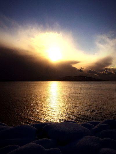 Marmara Sea Snow ❄ Istanbul Turkey Kartal Silvester 2015 Princess Island Water Reflections Sunset_collection