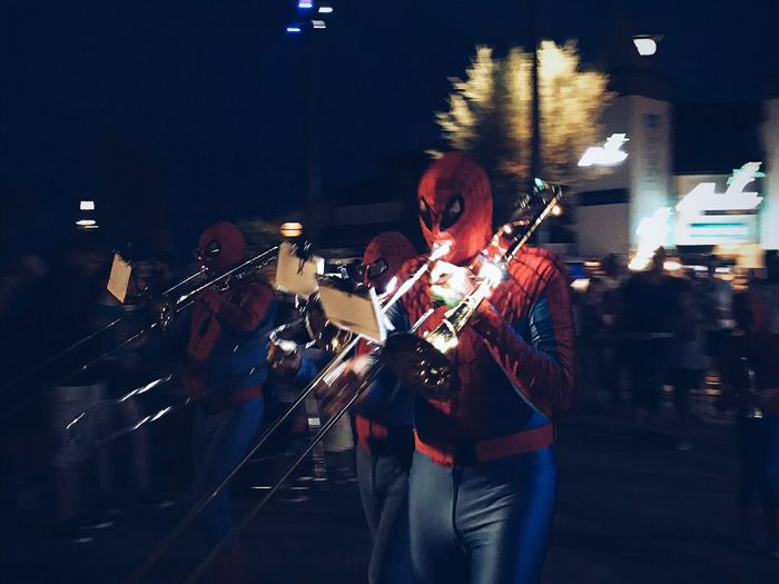 Spiderman plays the trumpet - phone shot. Open Edit Traveling EyeEm Gallery Mobile Photography Darkness And Light Shadow And Light Music Street Photography Performance VSCO Streetphotography Shootermag Culture Getting Inspired City Life