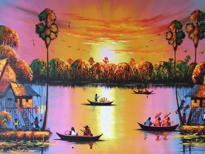 particolare da quadro acquistato in cambodia EyeEmBestPics EyeEm 🤠my Holidays😎 🌏my Life⛩ Lake Orange Color Colors Water Sky Reflection Sunset Outdoors Beauty In Nature Lake Nature