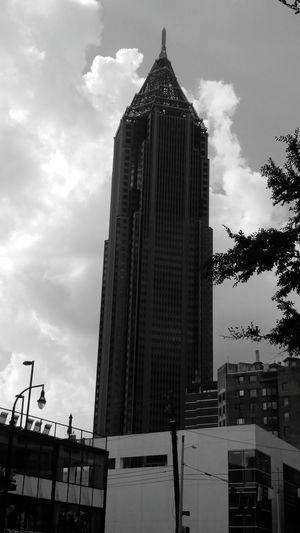 Blackandwhite Skyline Skyscraper Atlanta, Georgia Midtown Atlanta
