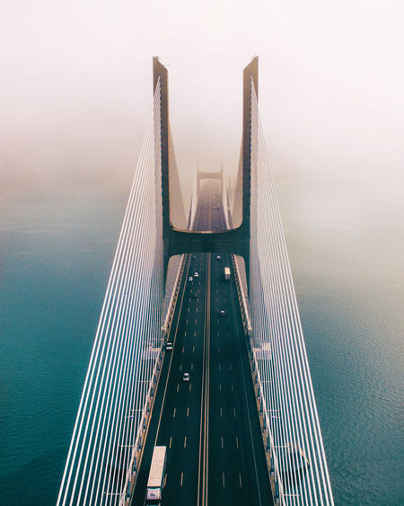 Drone  EyeEm Best Shots Architecture Bridge Bridge - Man Made Structure Built Structure Connection Day Engineering Fog Nature Outdoors Sea Sky Skyscraper Steel Suspension Bridge Transportation Travel Travel Destinations Water