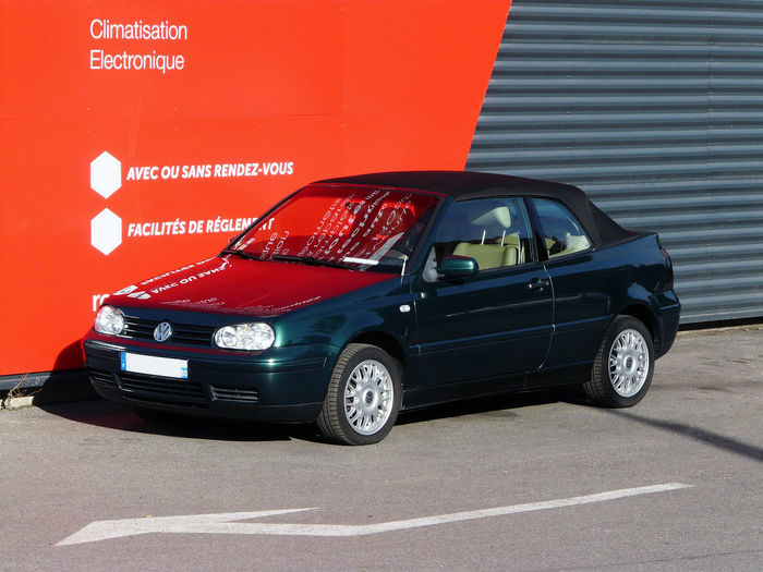 Golf IV Golf4 Green Green Color Vert Text Text Reflection Air-conditioning Aluminum Rims Beige Leather Cabriolet Car Communication Convertible Convertible Car Direction Ease Of Payment Golfiv Land Vehicle Mode Of Transport No People Red Background Rims Road Volkswagen In Oise