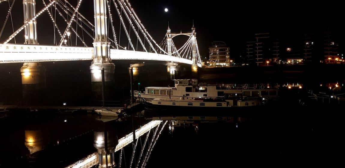 Albertbridge EyeEm Eyeemmarket City Cityscape Water Illuminated Nautical Vessel Bridge - Man Made Structure Harbor Reflection River Sky Ship Passenger Ship Cable-stayed Bridge
