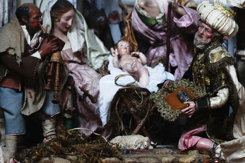 Baby Jesus Day Indoors  Italy Men Musician Napoli Nativity Scene October 2016 People Period Costume Sculptures Togetherness Traditional Clothing Women