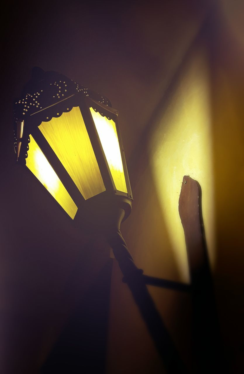 illuminated, yellow, lighting equipment, indoors, no people, night, low angle view, close-up