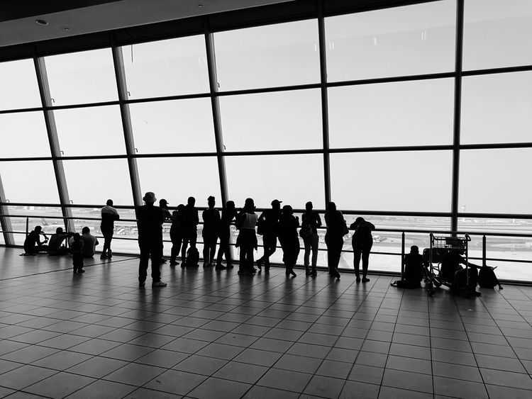 Silhouette People Journey Large Group Of People Airport Travel Window Sky OR Tambo International Viewing Deck Black & White