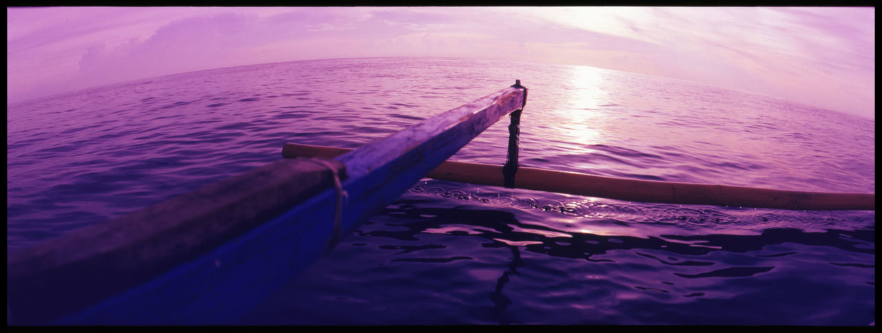 Looking for dolphins on a Bali Morning Analogue Photography ASIA Bali Boat Catamaran Dolphins Experience Fishermen Fun INDONESIA Indonesia Scenery Island Morning On Sea Nature Ocean Panoramic Panoramic Photography Sea Seaside Sky And Sea Slidefilm Sun And Sea Traditional Fishing Boat Travel Water