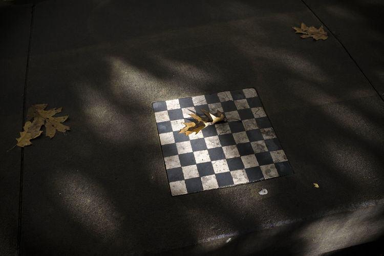 High angle view of chess board