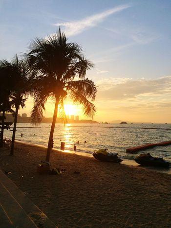 Beach Sunset Time Enjoying Life