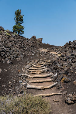 stairs in crater of the moon park in idaho Idaho North America American Northwest American North West Crater Of The Moon Volcanic Landscape Volcanic Rocks Volcanic Field Blue Sky Clear Day Travel Destinations Crater Of The Moon National Park Lava Field Lava Rocks Geology Geological Feature Geological Formations Staircase Going Up Growing Sky Clear Sky Nature Land No People Plant Day Scenics - Nature Rock Tranquility Tranquil Scene Solid Non-urban Scene Tree Rock - Object Environment Beauty In Nature Dirt Landscape Sunlight Outdoors Climate Arid Climate