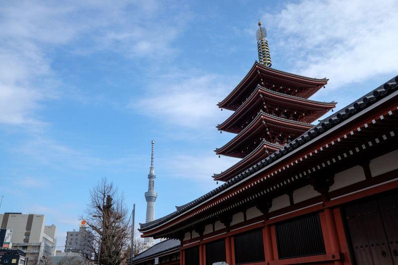 Low angle view of asakusa kannon temple and tokyo skytree