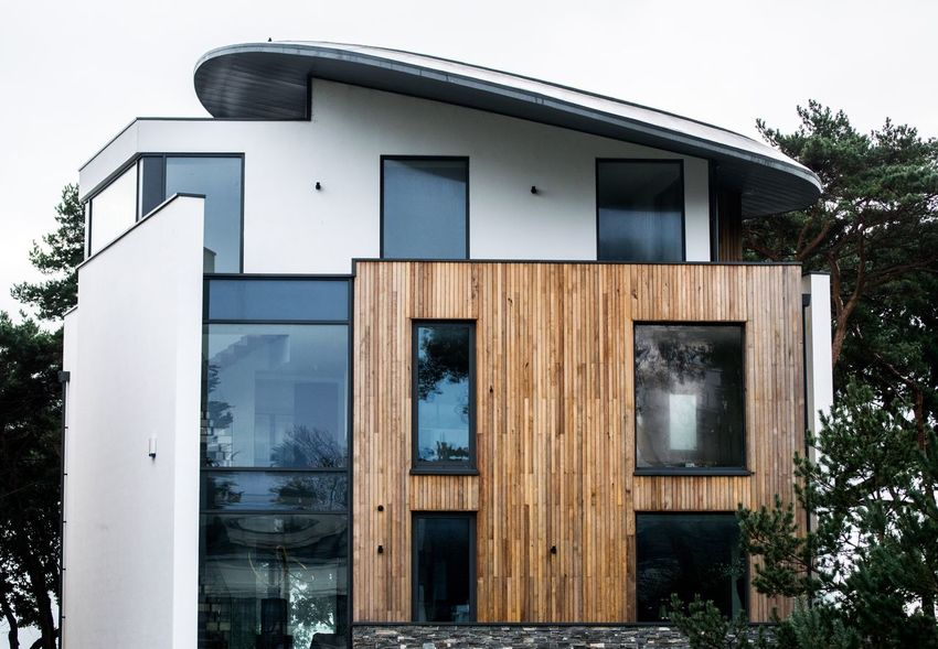 Modern Grove Glass White Wood - Material Wood Cladding Modern Building Houses House Sandbanks Modern Modern Architecture Modern House Building Exterior Built Structure Architecture Outdoors No People Day Tree Sky The Graphic City Colour Your Horizn