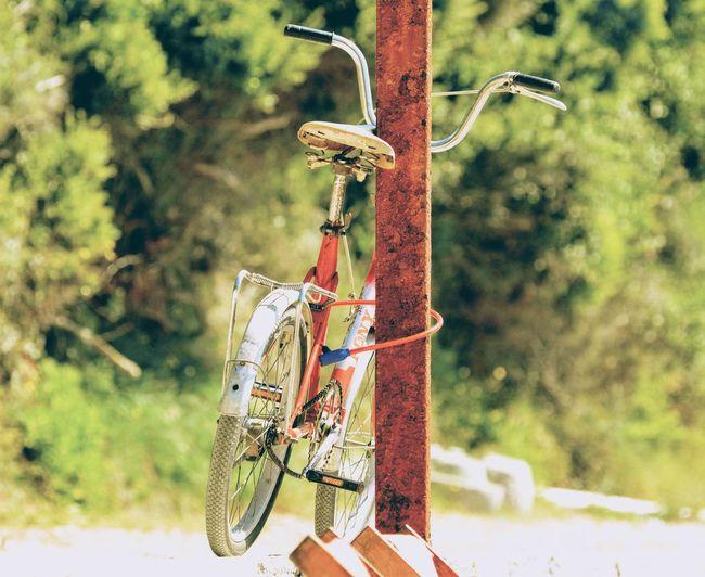 Bicycle Locked On Rusty Metallic Rod