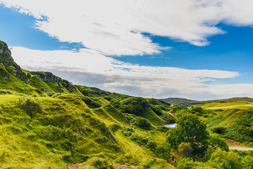 Fairy Glen Scotland Scottish Uig Beauty In Nature Cloud - Sky Day Grass Green Color Highlands Landscape Mountain Mountain Range Nature No People Non-urban Scene Outdoors Scenics Sky Slope Tranquil Scene Tranquility