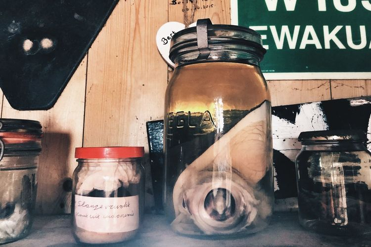 Fish Eye Cabinet Of Curiosities Jar Hidden Treasures Container Bottle Indoors  No People Jar Still Life Close-up