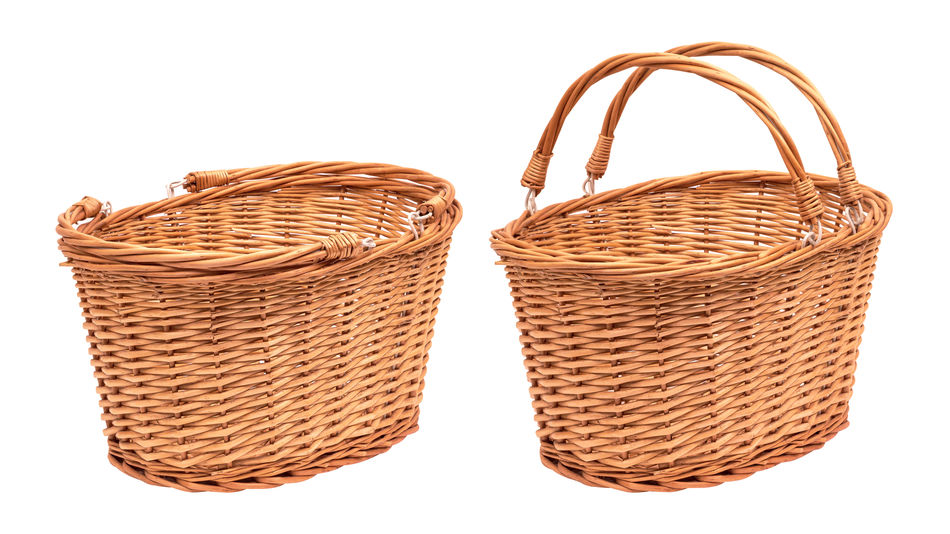 Wicker basket isolated on white background. Picnic container made from wood material. Weave Wicker Art And Craft Bag Basket Basket Weave Brown Close-up Container Craft Creativity Cut Out Food Food And Drink Handle Material No People Pattern Personal Accessory Still Life Studio Shot White Background Wicker Wood - Material Woven