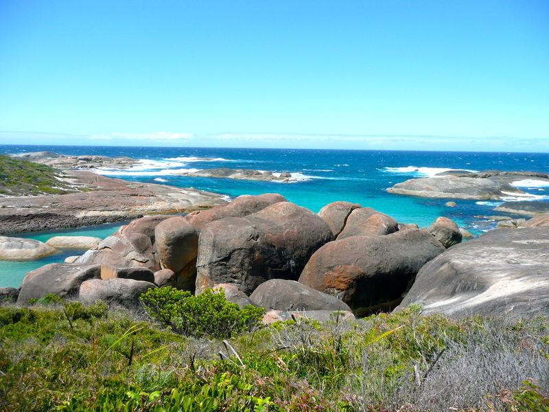 Basalt Rock Formations Blue Granite Rocks Horizon Over Water Sea Tourquise Sea