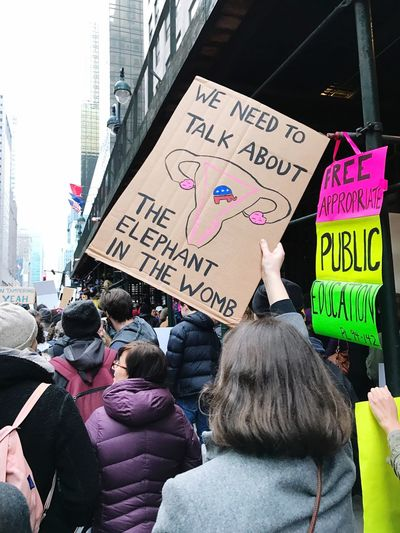 Women's March NYC 2017 Marching Peacefully March 2017 Women Protest Signs Protesting Text Western Script Communication Message Women Day Stories From The City Placard Outdoors Real People