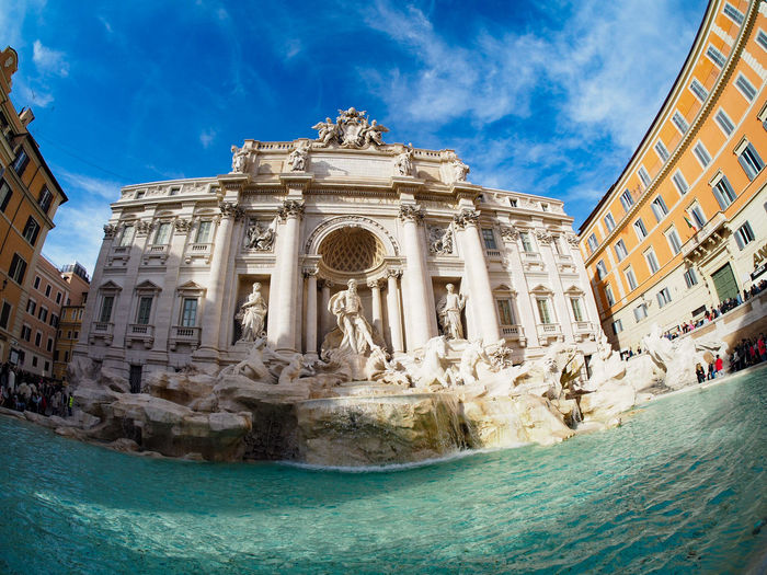 Architecture Built Structure Building Exterior Travel Destinations History Statue Façade Sky Sculpture Blue Low Angle View Baroque Style Outdoors No People Day Close-up Fontana Di Trevi Roma Moving Around Rome