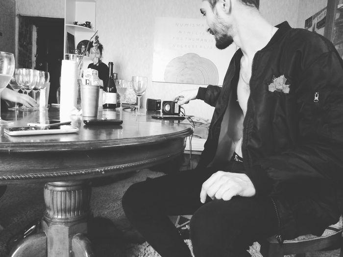 Man sitting on table
