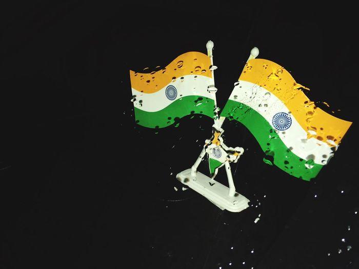 India Indian Flag Black Background Rain Drop Rain Drop Outdoors Respect National Flag National Emblem
