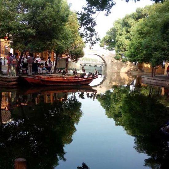 Lake Water Reflections Chinese Architecture Building Watertown Bridge Park East China Birds Fishing China