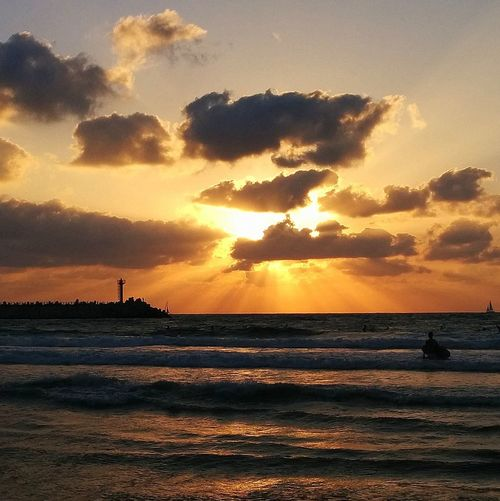 Beach Golden Hour Horizon Over Water Israel Beaches Orange Color Sea Silhouette Sky Sun Sunset Tranquil Scene Water Sommergefühle