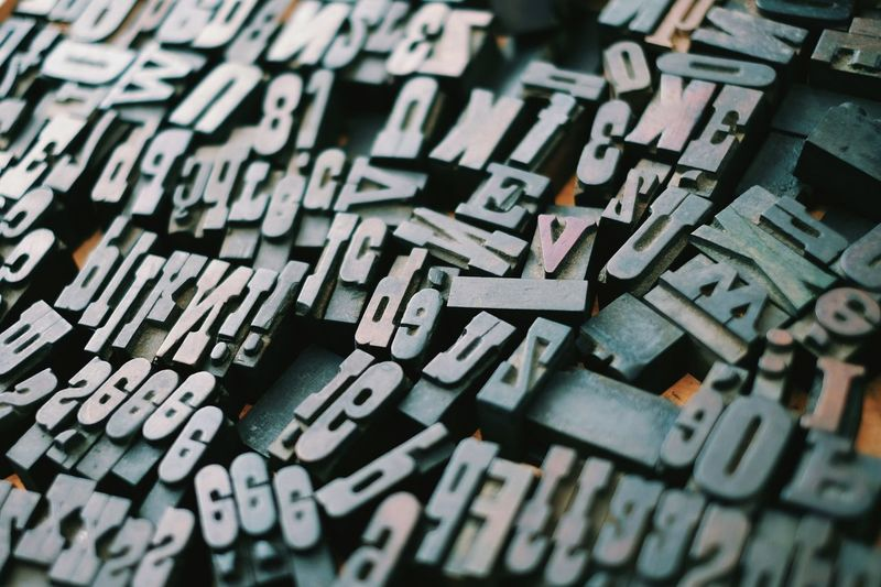 Large Group Of Objects Backgrounds No People Printing Press Alphabet Close-up Metal Industry Fleamarket Fonts
