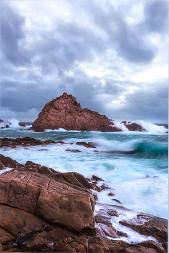Sugarloaf Rock during a storm Sky Cloud - Sky Sea Water Rock Beauty In Nature Rock - Object Solid Scenics - Nature Rock Formation Beach Land Nature Tranquility Motion No People Day Idyllic Horizon Over Water Outdoors Storm Ocean Waves Crashing Wave Australia Travel Destinations Travel Rough Energy Swell Tranquil Scene