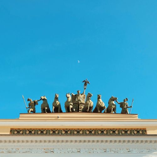 Low Angle View Of Sculptures On General Staff Building