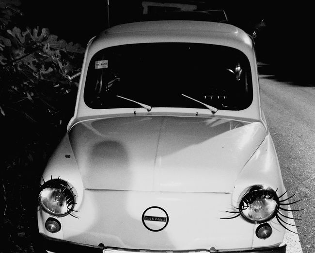 Old Car Zastava EyeEm Best Shots Eyelashes On The Heaglights Shadow Black And White