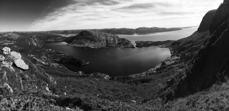 Black & White Fjordsofnorway Norway Beauty In Nature Black And White Blackandwhite Day Fjord Fjords Landscape Mountain Nature No People Ocean Outdoors Rock - Object Scenics Sky Tranquil Scene Tranquility Water