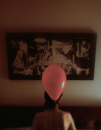 Guernica Picasso Redballoon Innocence War Indoors  Girl Oniric Surrealistic Leica M262 PortraitPhotography Portrait Of Woman Fine Art Photograhy