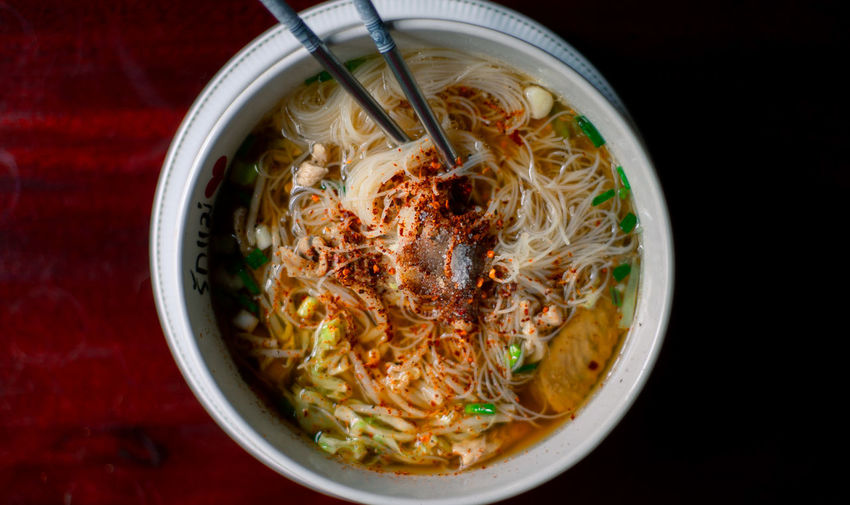 High angle view of noodles in bowl on table