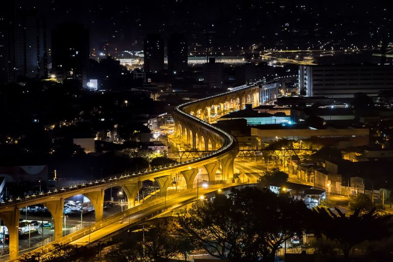 City lights - São Paulo - Brazil Night Illuminated City Architecture Transportation Built Structure High Angle View Bridge - Man Made Structure Connection City Life Street No People Street Light Outdoors Light Trail