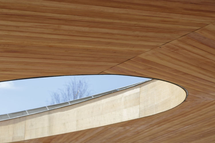 Graces Farms designed by SANAA Architectural Feature Architecture Architecture Architecture Photography Architecture_collection Architectureporn Built Structure Close-up Connecticut Day Directly Below Geometric Shape Grace Farms Low Angle View Modern No People Part Of Sky Wood - Material