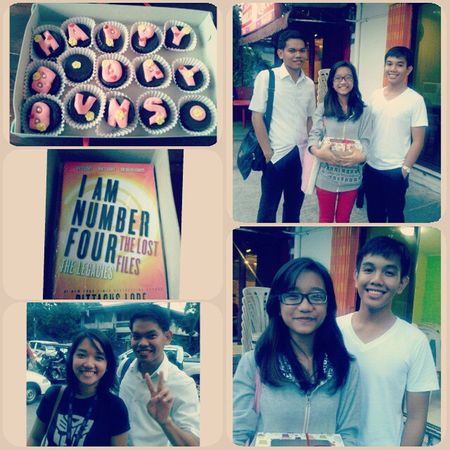 """Post-birthday surprise! :""""> courtesy of the best sisters in universe and two of the best boys one can ever meet. Hart hart. Kilig sobra. Latepost"""
