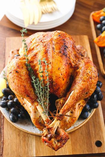 Close-up of roast turkey on table